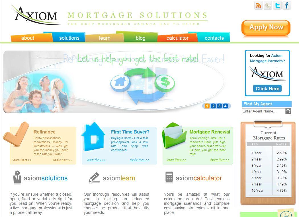 mortgage brokerage website comparison  axiom mortgage vs