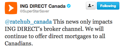Tweet from ING DIRECT Canada
