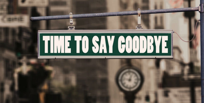 "a street sign that says ""time to say goodbye"""