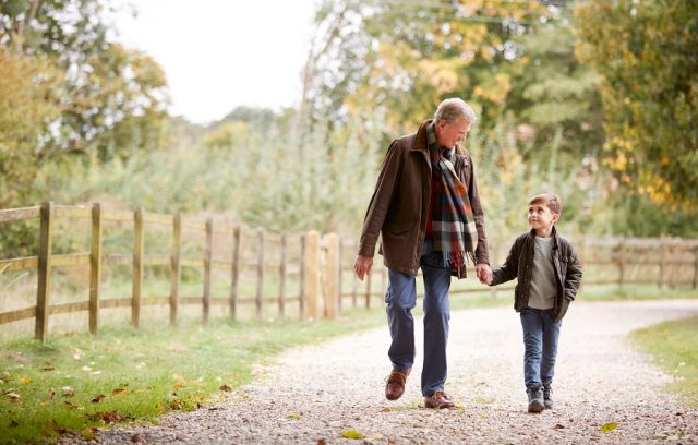 Son and Grandfather on a walk