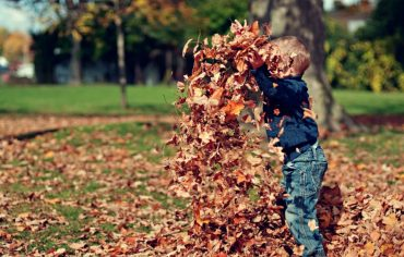 cleaning-eavestrough-kid-playing-leaf-pile